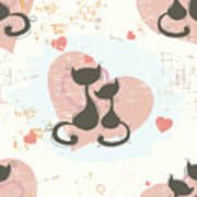 Cats In Love, Romantic Decorative Seamless Pattern Art Print
