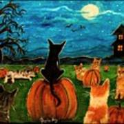Cats In Pumpkin Patch Art Print