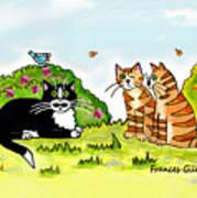 Cats Talking In A Sunny Garden Art Print