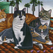 Cats Up On The Roof Art Print
