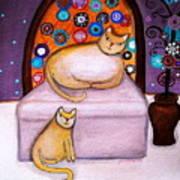 Cats Waiting Art Print