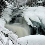 Cattyman Falls In Winter - Vertical Art Print