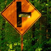 Caution T Junction Road Sign Art Print