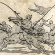 Cavalry Charge Gettysburg Sketch Art Print