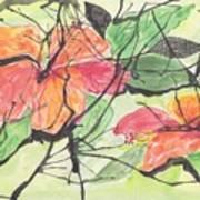 Cayenas Atrapadas  Hibiscus Art Print