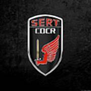 C.d.c.r Special Emergency Response Team - S.e.r.t. Patch Over Black Art Print