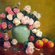 Celadon Vase With Roses And Nectarines Art Print
