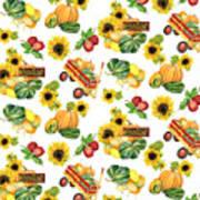Celebrate Abundance Harvest Half Drop Repeat Art Print