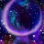 Celestial Crescent Moon Cat  Art Print