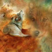 Celestial Wolves 2 Art Print