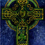 Celtic Cross - Harp Art Print