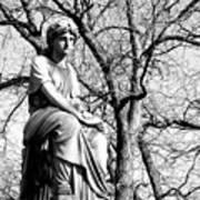 Cemetary Statue B-w Art Print