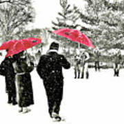 Central Park Snow And Red Umbrellas Art Print