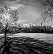 Central Park's Sheep Meadow - Bw Art Print