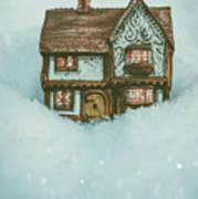Ceramic Cottage In Snow Art Print