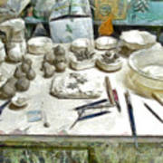 Ceramic Objects And Brushes On The Table Art Print