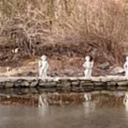 Cerubs On Icy Pond Art Print