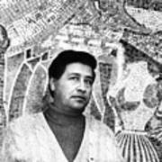 Cesar Chavez Stands In Front Of The Print by Everett