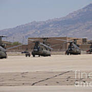 Ch-47 Chinook Helicopters On The Flight Art Print