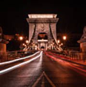 Chain Bridge At Midnight Art Print
