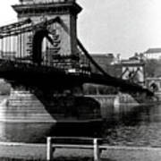 Chain Bridge Of Budapest In 1990 Art Print