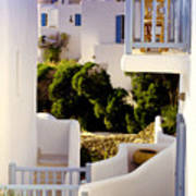 Chair On Balcony In Mykonos Art Print