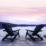 Chairs On Lake Dock Art Print by Elena Elisseeva