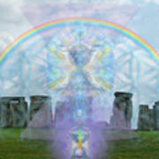 Chalice Over Stonehenge In Flower Of Life And Man Art Print