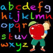 Chalk Board Alphabet B Art Print