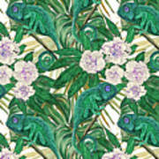 Chameleons And Camellias  Art Print