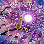 Champagne Tabby Cat In Cherry Blossoms Art Print