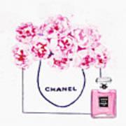Chanel Bag With Pink Peonys Art Print