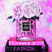 Chanel Perfume With Peony Art Print