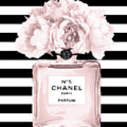 Chanel N.5, Black And White Stripes Art Print