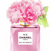 Chanel N5 Pink With Flowers Art Print