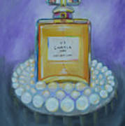 Chanel No 5 With Pearls Painting Art Print