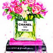 Chanel Nr 5 Flowers With  Perfume Art Print