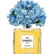 Chanel Perfume Nr 5 With Blue Hydragenias  Art Print