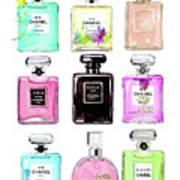 Chanel Perfume Set 9er Art Print