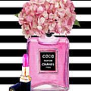 Chanel Poster Pink Perfume Hydrangea Print Art Print