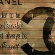 Chanel Wood Panel Rustic Quote Art Print