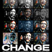 Change  - Barack Obama Art Print by Valerie Wolf