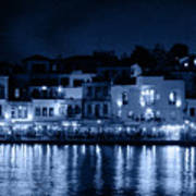 Chania By Night In Blue Art Print