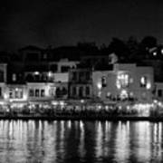 Chania By Night In Bw Art Print