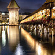 Chapel Bridge At Night In Lucerne Print by George Oze