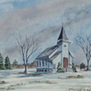 Chapel In Winter Art Print