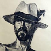 Charcoal Portrait Of A Man Wearing A Summer Hat Art Print