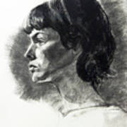 Charcoal Portrait Of A Pensive Young Woman In Profile Art Print