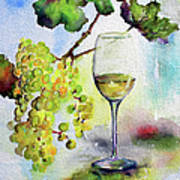 Chardonnay Wine Glass And Grapes Art Print