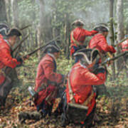 Charge Of The 60th Royal Americans Regiment At Bushy Run Art Print by Randy Steele